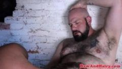 Barebacked chubby bear gets asshole jizzed